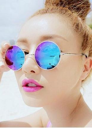 Солнцезащитные очки, окуляри,круглые в металической оправе хам...
