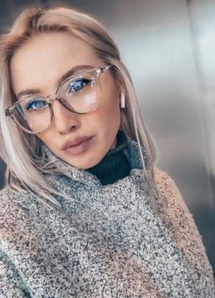 Имиджевые очки, окуляри, серые, прозрачные