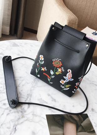 Сумка, мешок, рюкзак с вшивкой, с цветами, черный