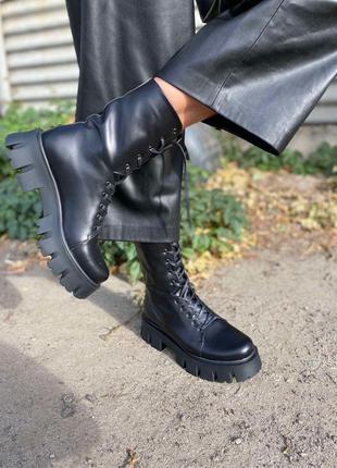 Кожаные ботинки берцы натуральная кожа