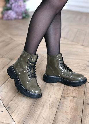 Женские кожаные ботинки Alexander McQueen