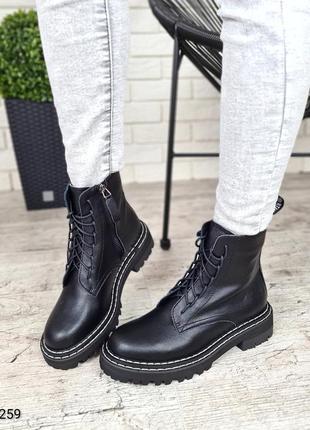 Черные женские ботинки🆕 осенние ботинки на каблуку 🆕стильные б...