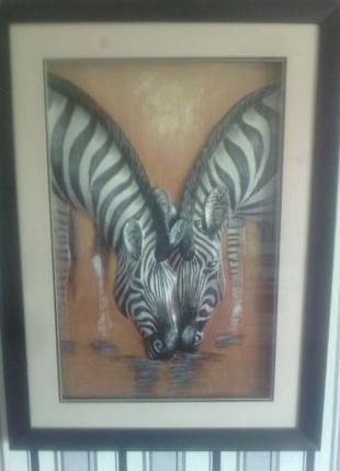 Картина из гипса зебры, большая под стеклом
