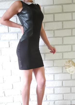 Платье с вставками кожи эфектное красивое плаття футляр