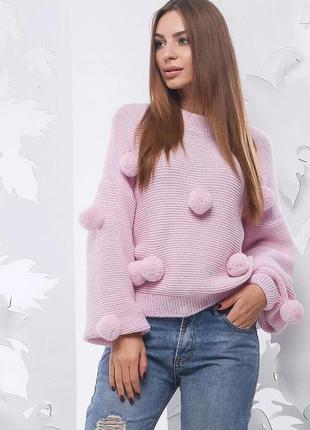 Модный вязаный свитер с помпонами oversize обьемный s/m
