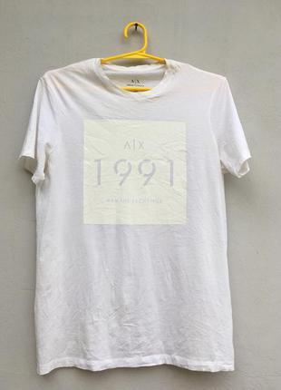 Белая фирменная хлопковая футболка armani exchange m slim арма...
