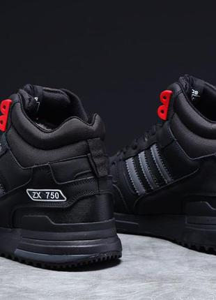 Зимние мужские кроссовки 31363 ► adidas zx 750, черные