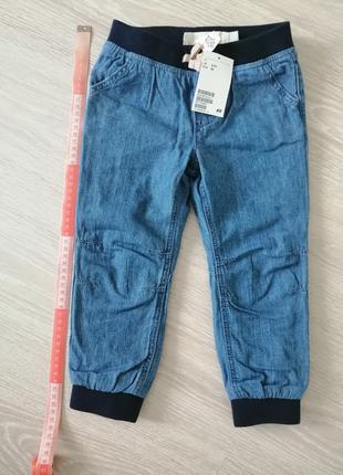 Новые штаны h&m, на подкладке, джинсы. 2-3 года, 92-98 см