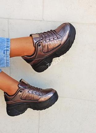 Шоколадные бронзовые черные осенние кроссовки кеды на платформ...