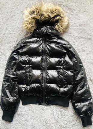 Куртка чёрная с искусственным мехом/ скидка 20%