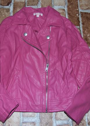 Куртка кожаная косуха девочке 8 лет Bluezoo