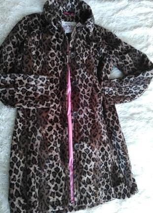 Пальто леопардовое брендовое, размер 44-46