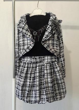 Теплое платье с болеро на девочку, платье и жакет в стиле шане...
