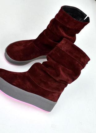 Замшевые сапоги уги угги замшеві чоботи сапожки на толстой под...