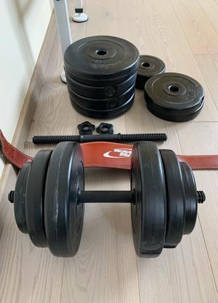 Гантели 2x18 (2 по 18 кг) и 2 блина по 5 кг