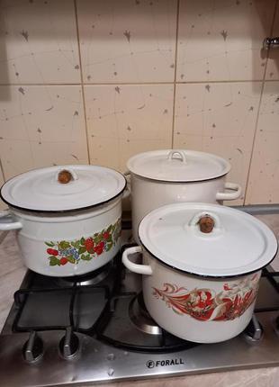 Кастрюля эмалированная 6 литров СССР,.б/у в отличн.состоянии.Хар
