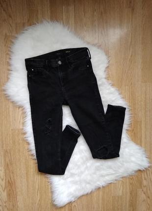 Черные рваные джинсы варенки,зауженные джинсы skinny супер скинни