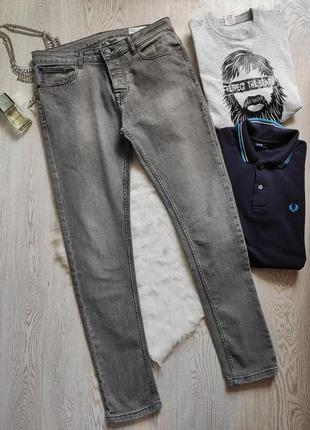 Серые меланж мужские плотные джинсы скинни узкачи американки с...