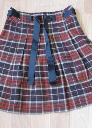 Юбка школьная для девочки теплая кокетка 3-7 лет .