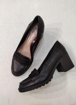 George черные туфли лоферы на устойчивом каблуке