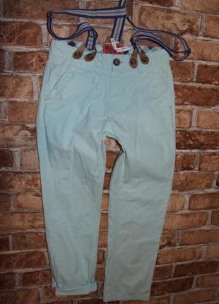 Чиносы штаны джинсы мальчику на подтяжках 7 - 8 лет