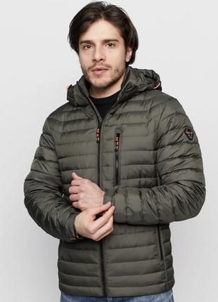 Демисезонная мужская куртка хаки vavalon на био-пухе (46-60рр)