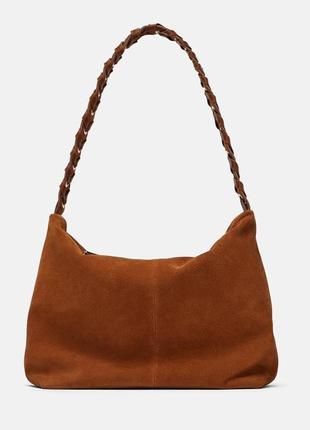 Кожаная сумка zara на застежке-молнии