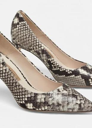 Кожаные туфли zara с животным принтом. размер 40