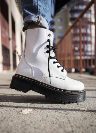 Dr. martens 1460 white женские кожаные зимние ботинки белого...