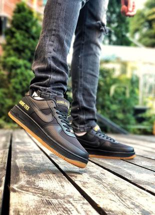 Шикарные мужские кроссовки nike air force 1 gore-tex чёрные
