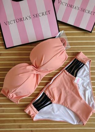 Купальник пуш-ап бандо персик оригинал 2018 года pink victoria...