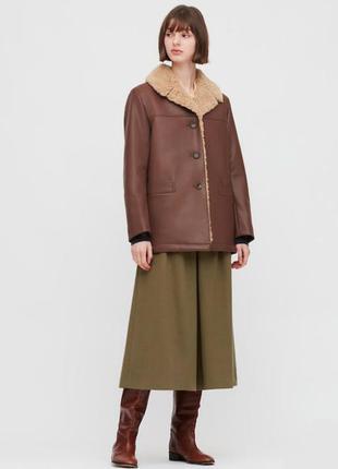 Женское пальто/дубленка из искусственой кожи uniqlo