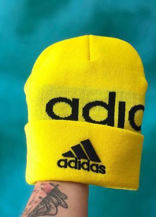 Мужская/ женская шапка осень adidas желатая