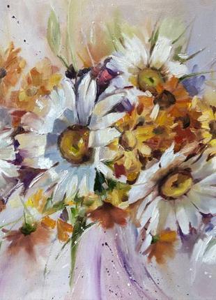 Картина «Букет з ромашками» 50х60 см полотно олія