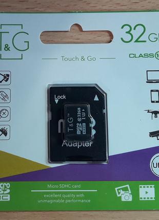 Micro SD карта памяти T&G 32Gb class 10 с адаптером