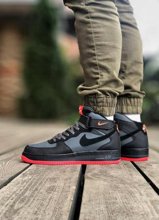 Nike air force 1 high black чёрные мужские кроссовки наложенны...