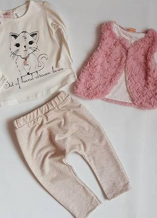 Комплект 3-ка девочка котик / комплект дівчинка киця 80/86см