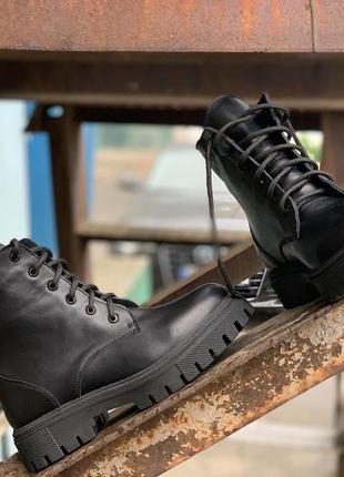 Ботинки женские натуральная кожа на шнуровке берцы армейские