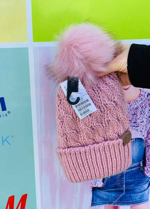 Тёплая шапка hm для девочки с помпоном