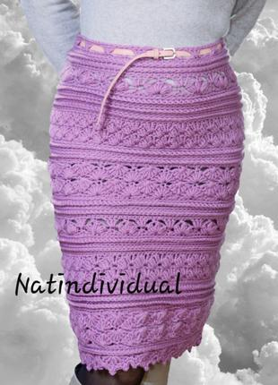 Шерстяная сиреневая юбка карандаш
