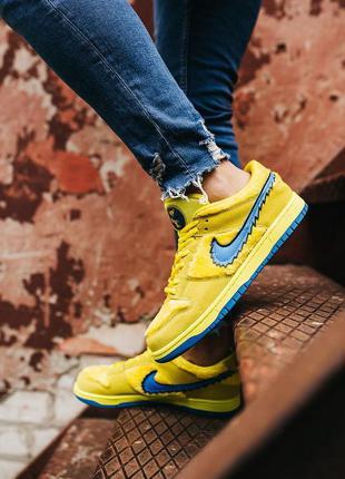 Nike sb dunk low x grateful dead yellow blue, мужские кроссовк...
