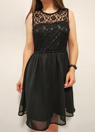 Красивое черное платье гипюр кружево