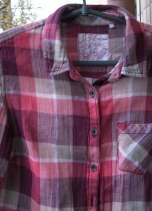 Стильная женская рубашка в клетку котон на подкладке