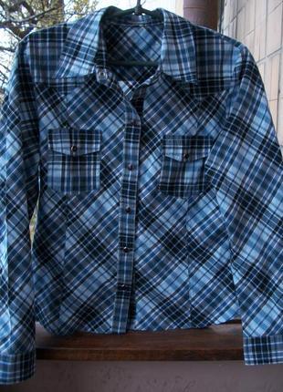 Стильная женская рубашка в клетку котон