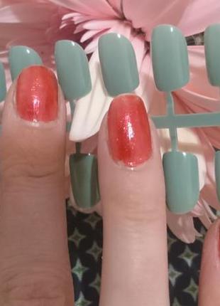 Набор аккуратных накладных ногтей фисташкового цвета