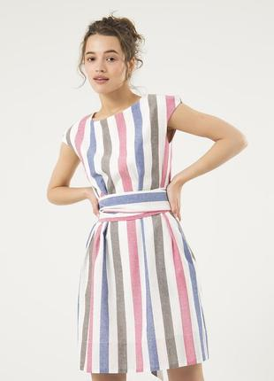 Летнее платье из льна season в разноцветную полоску