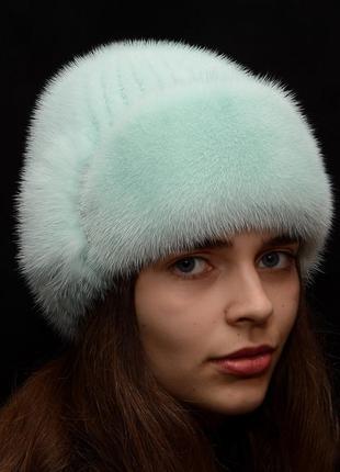 Мятная норковая женская шапка