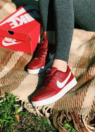 Nike air force 1 red женские кроссовки белого наложенный платё...