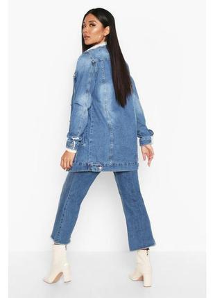 Удлиненная джинсовая куртка жакет
