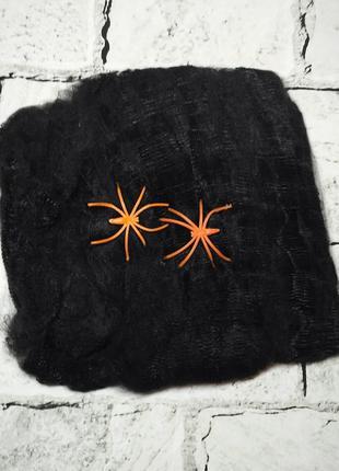 Паутина черная с оранжевыми паучками, декор на Хэллоуин, 20 г
